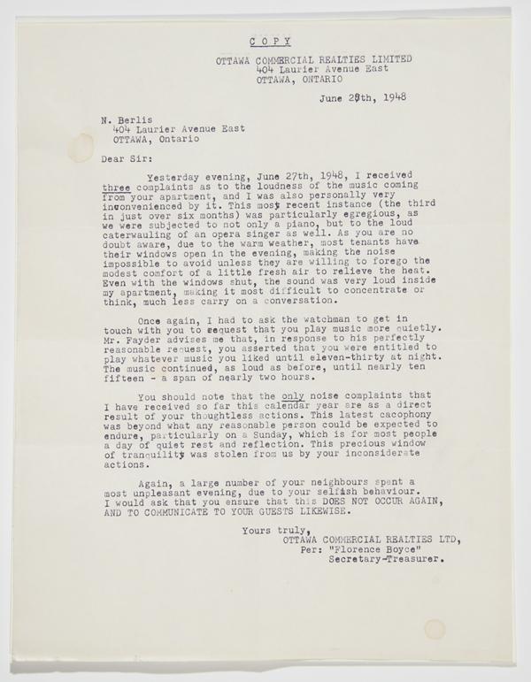 Berlis Noise complaint letter, June 28, 1948
