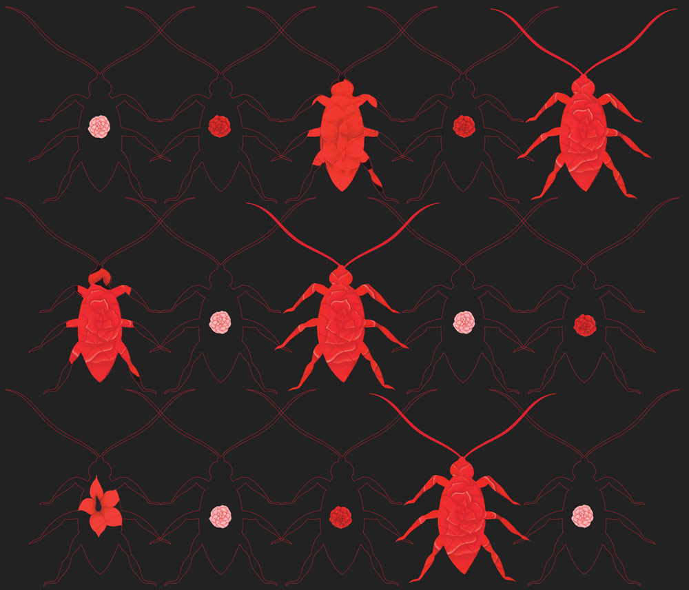 Tazeen Quayyum, originally from Lahore and now based in Oakville, is known for her imagery of insects; here, she integrates them into a new textile design.
