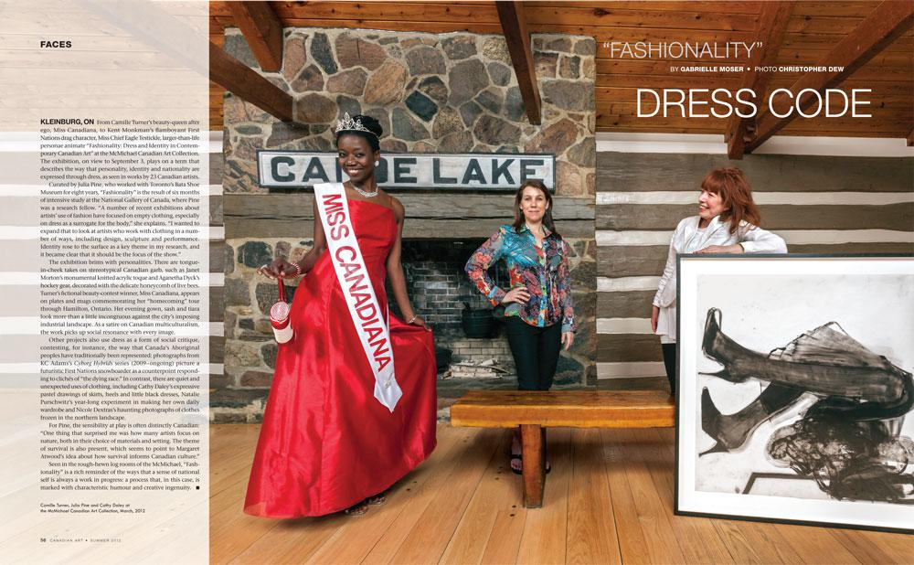 """Spread for""""Fashionality"""" by Gabrielle Moser, <em>Canadian Art</em>, Summer 2012, pp 56–7 / photo Christopher Dew"""