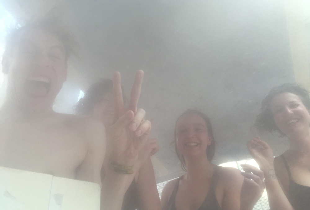 First sauna session at 8-11 in January, 2015, with (from left) Simon Schlesinger, Stephanie Fielding, Xenia Benivolski and Sarah Kilpack. Photo: Jay Shuster.