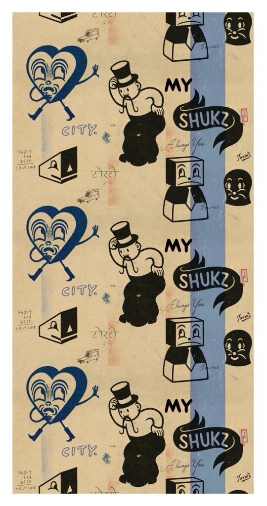 Illustrator and designer Gary Taxali has contributed a textile design in his classic retro style.