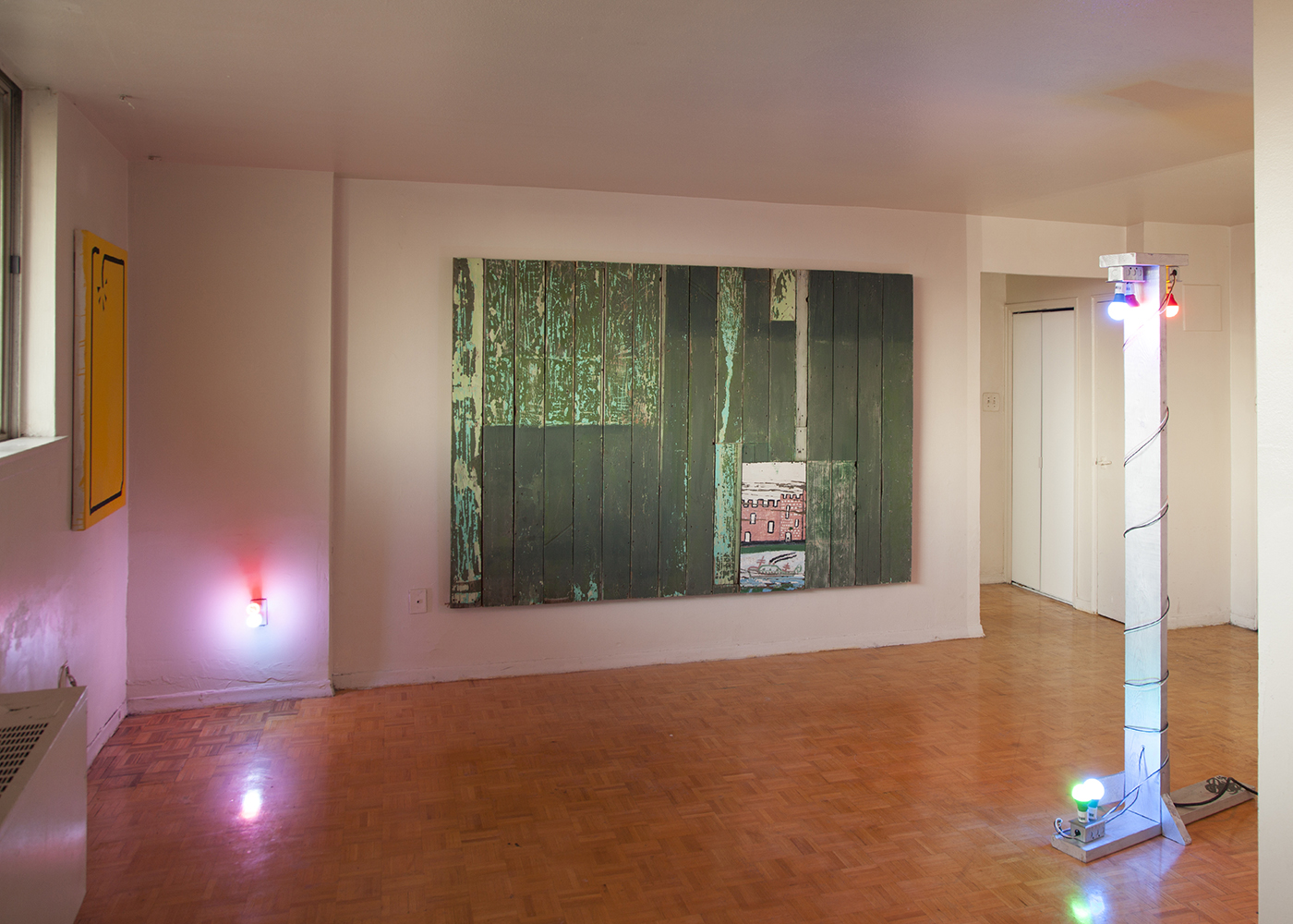 """Works by (from left) Dana Slijboom, Oliver Roberts and François A. Côté, from """"Flow Channel,"""" February 5 to 7, 2016. Courtesy Carrier Arts."""