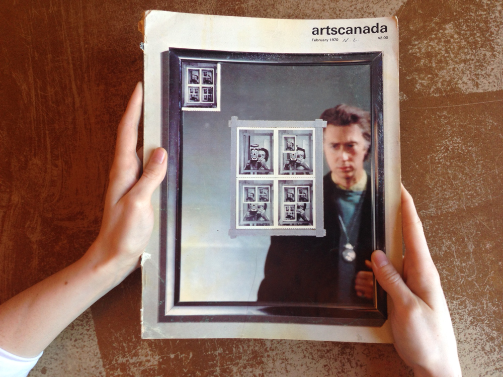 A 1970 copy of <em>artscanada</em> with a cover story on Michael Snow, in recognition of his showing at the Venice Biennale's Canada Pavilion.