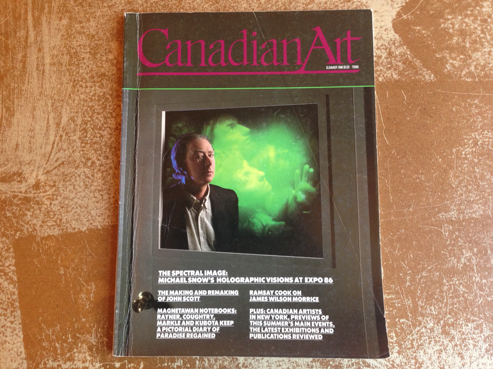 Michael Snow cover 1986 Summer Canadian Art