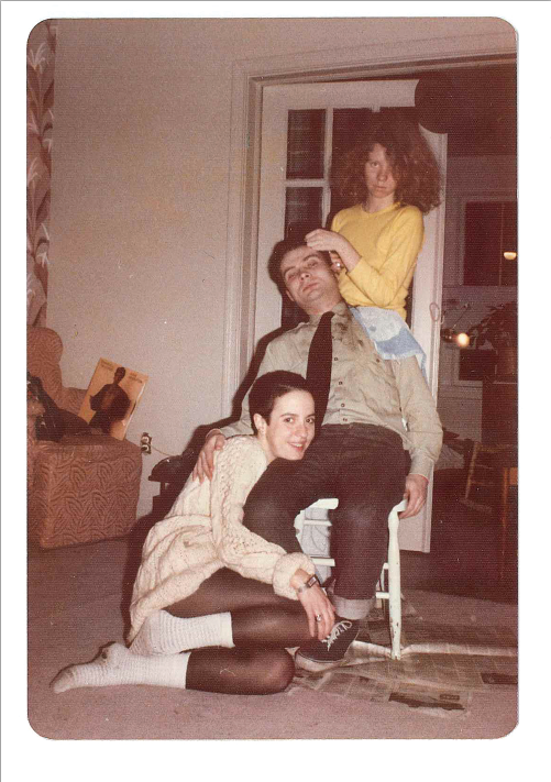 Kathy Acker (seated on floor) with Andy Paterson and Judith Doyle in Doyle's Toronto apartment in 1979. Courtesy Judith Doyle.