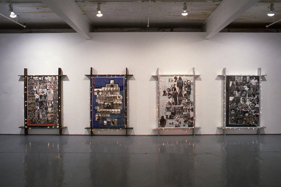"Shelley Niro, ""Mohawks in Beehives + Other Works"" (installation view) in 1992 at Mercer Union. Photo: Peter MacCallum."