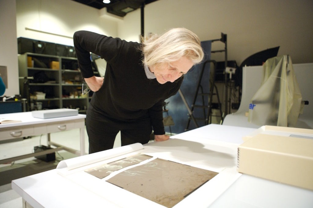 Annie Leibovitz at the US National Archives at College Park, Maryland, in February 2011. Leibovitz was photographing original Mathew Brady glass plate negatives of Abraham Lincoln for her book <em>Pilgrimage</em>. Photo: Earl McDonald, National Archives.