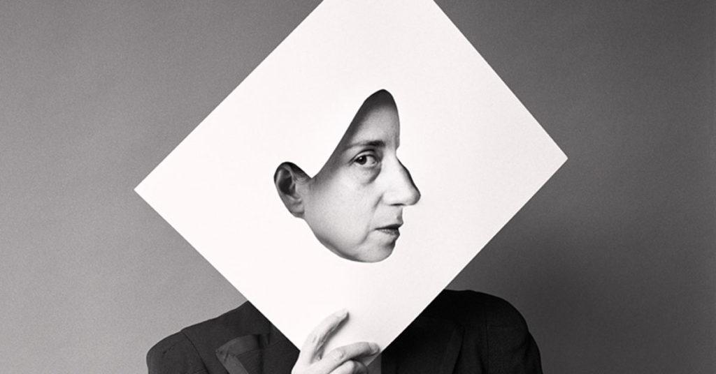 Carol Sawyer, <em>Natalie Brettschneider performs Profile Mask, c. 1952.  Unknown Photographer. Archival ink jet print from original negative Carol Sawyer/Natalie Brettschneider Archive, Acquired with the assistance of Kathleen Taylor, 2015.
