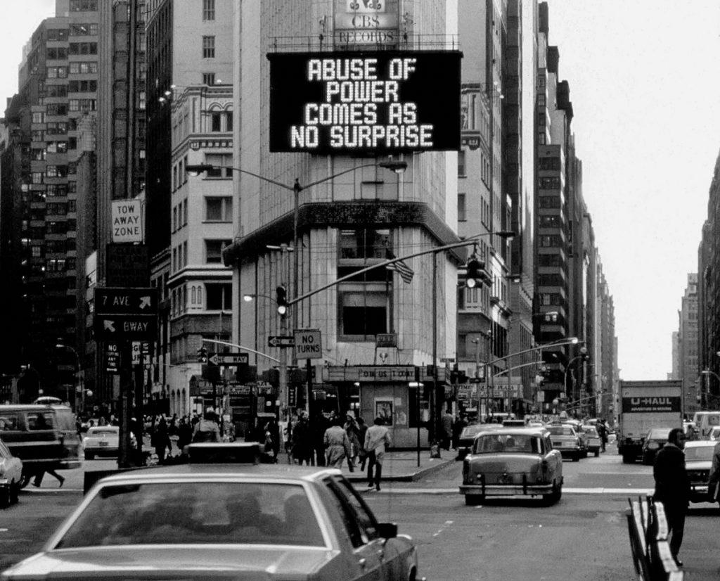 "Jenny Holzer, <em>Truisms (1977–79)</em>, 1982. Electronic sign, 6.1 x 12.2 m. Installation for ""Messages to the Public,"" Times Square, New York, 1982. Copyright Jenny Holzer/SODRAC (2018). Photo: Copyright Lisa Kahane."