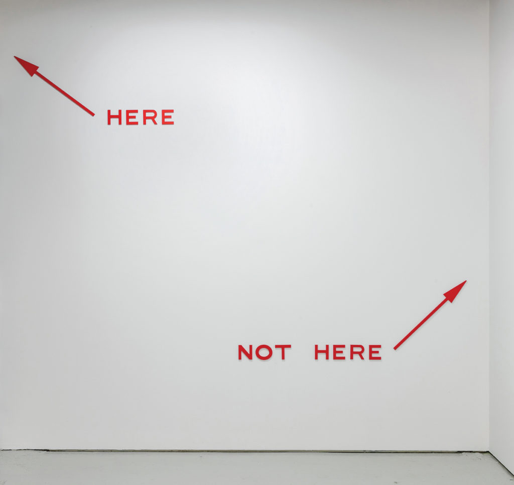 Micah Lexier, <em>Here, Not Here (Red)</em> (detail), 2017. Waterjet-cut 1/4-inch aluminum and enamel paint, dimensions variable. Collection Szafranski, Calgary. Courtesy Birch Contemporary. Photo: Toni Hafkenscheid.